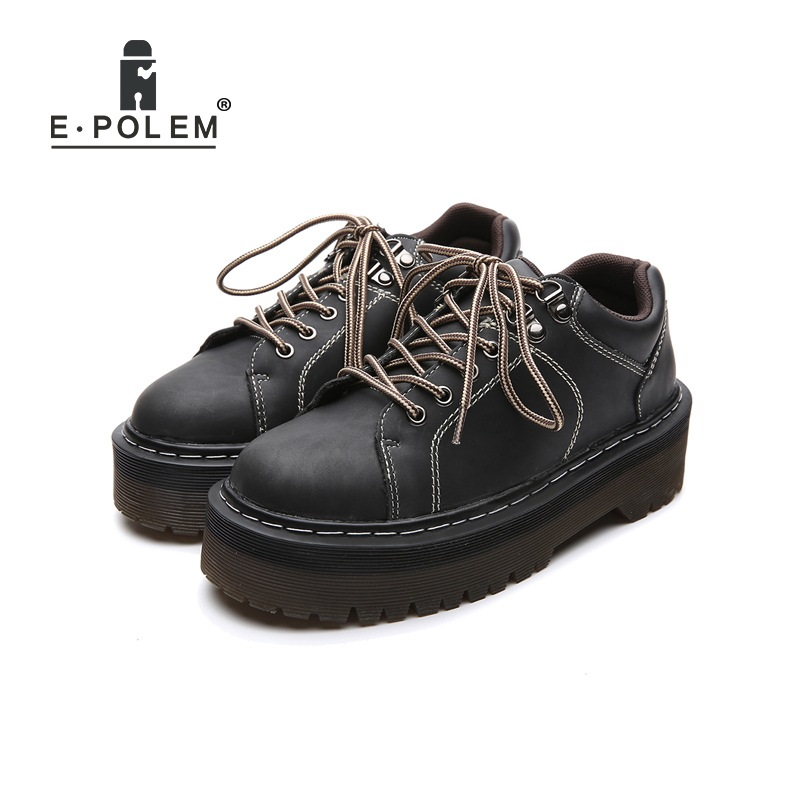 2018 New Fashion Thick Sole Platform Black Leather Martin Shoes Female British Round Toe Lace Up Harajuku Shoes Punk Footwears beffery 2018 british style patent leather flat shoes fashion thick bottom platform shoes for women lace up casual shoes a18a309