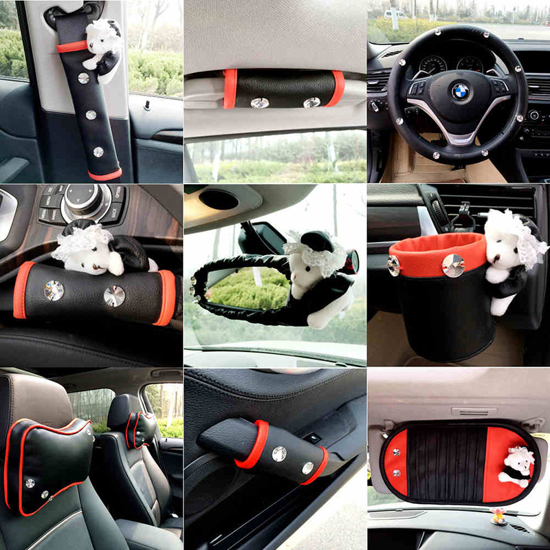 Car Interior Accessores For Women Leather with Crystal Rhinestone Steering Wheel Cover Black Red Mirror Shifter Seat Decoration
