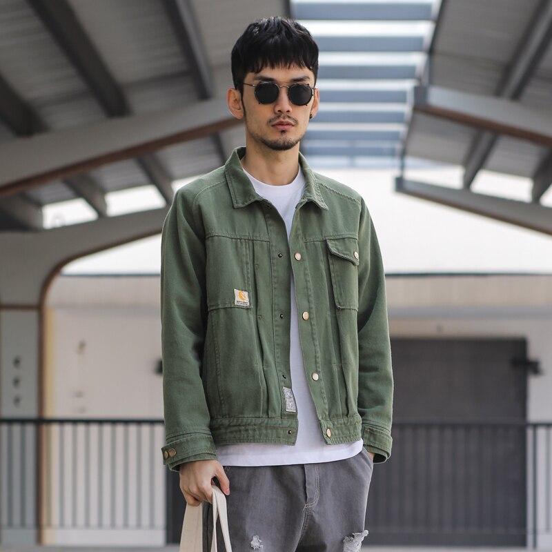 New 2017 autumn american style fashion army green denim jacket men ...
