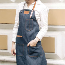 Blue Denim Bib Apron w/ Leather Straps Barber Barista Cafe Bar BBQ Chef Bakery Uniform Tattoo Shop Florist Gardener Workwear K36