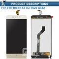 Top quality preto/branco/ouro + tp lcd para zte blade x3 d2 t620 a452 display lcd com tela de toque digitador assembléia + ferramentas