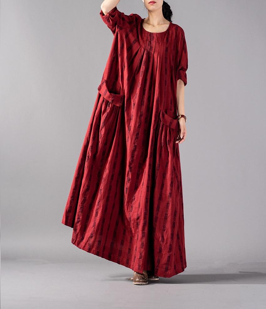 Women Autumn Plus Size Plaid Pathwork Wrinkle Vintage Dress Ladies Loose Big Size Dress Female Retro