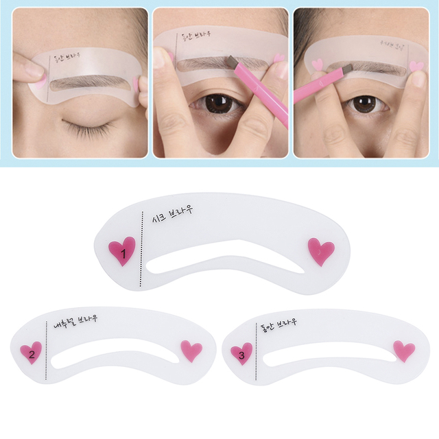 ELECOOL 1Set 3 Styles Reusable Eyebrow Stencil Drawing Guide Card Eyebrow Template Shaping DIY Shaping Grooming Makeup Tool