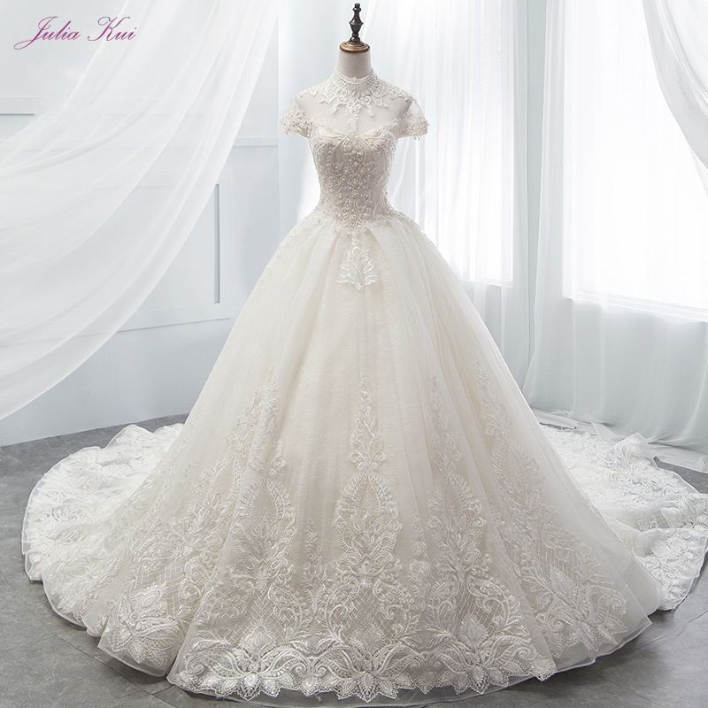 Julia Kui Elegant Satin High Neckline Ball Gown Wedding Dress Cap Sleeves Lace Up ClotureWedding Gown