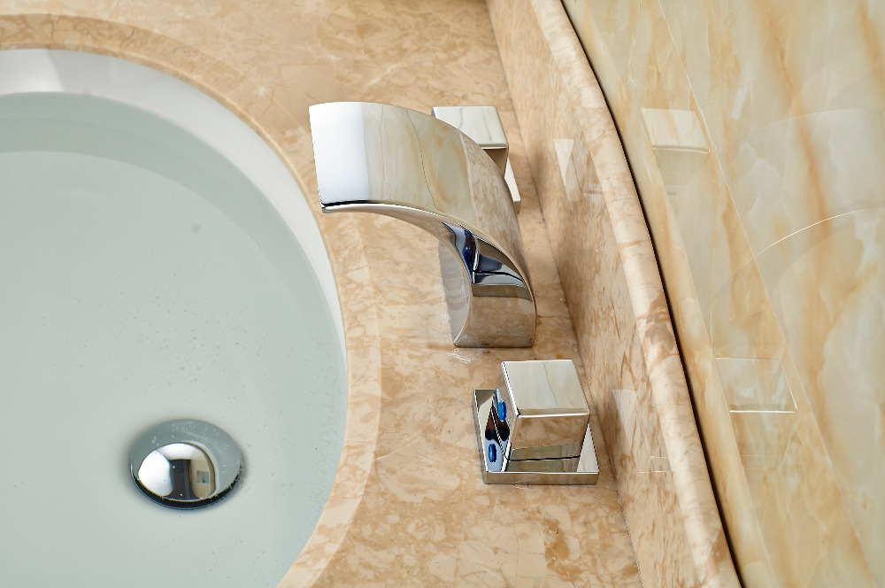 Widespread Roman Waterfall Bathroom Basin Faucet Double Handles Vanity Mixer Tap декор lord vanity quinta mirabilia grigio 20x56