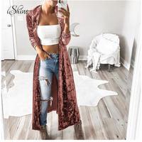 Женская бархатная верхняя одежда с длинным рукавом, элегантный длинный бархатный кардиган, уличная мода, женский длинный Тренч, пальто, Pull ...