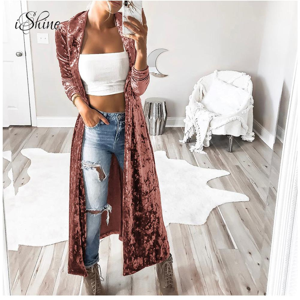 Women Long Sleeve Velvet Outwear Elegant Long Velvet Cardigan High Street Fashion Female Long   Trench   Coat Pull Femme 2018 Autumn