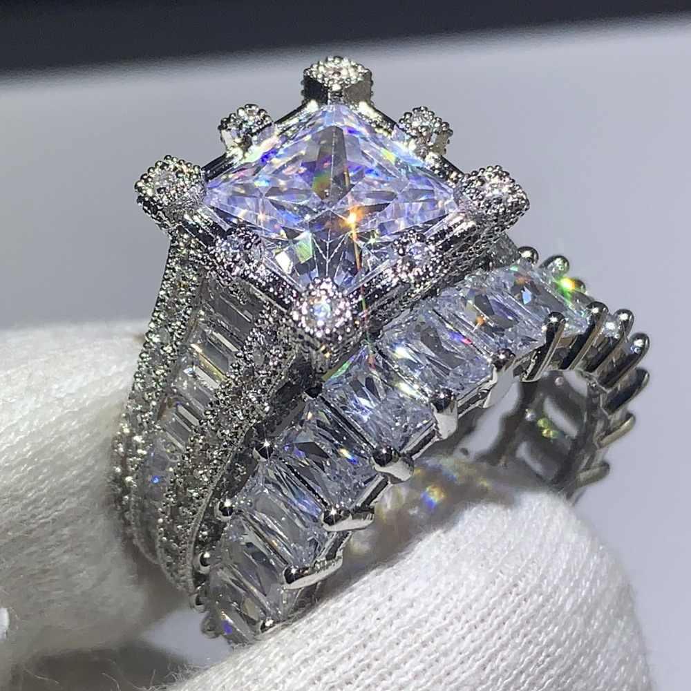 Choucong Marke Neue 2019 Heißer Verkauf Vintage Schmuck 925 Sterling Silber Prinzessin Cut 5A CZ Zirkonia Frauen Hochzeit Braut Ring set