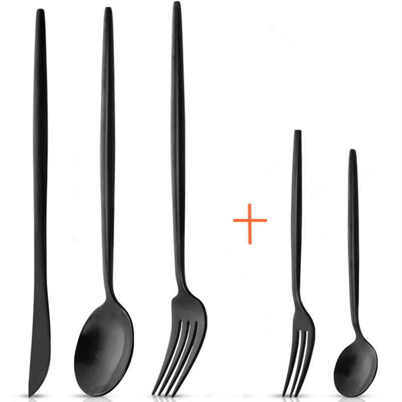30pcs KuBac Hommi Quality Stainless Steel Knife With Fruit Fork Party Dinnerware Set Matte Black Cutlery Set Drop Shipping