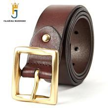 FAJARINA Top Quality Reak Pure Cow Skin Leather Belts Mens Brass Pin Buckle Cowhide Belt for Men 3.8cm Width N17FJ343