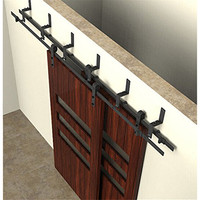 5 10FT Bypass Double Sliding Barn Wood Door Hardware Easily Installed Country Style Soft Close Black