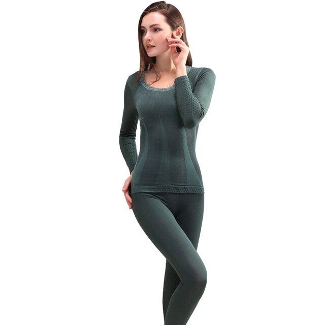 Термобелье наборы 2018 новые зимние женские модальные кальсоны бесшовный топ и брюки костюм сексуальные тонкие тела Shaper теплые колготки