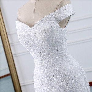 Image 4 - Fansmile Chiếu Trúc Hạt Vintage Phối Ren Váy Nàng Tiên Cá Váy Cưới Plus Kích Thước 2020 Dài Xe Lửa Đặc Chế Cưới Cô Dâu Thổ Nhĩ Kỳ FSM 431M
