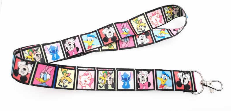 10 chiếc/20/30 chiếc/bộ 50/100 viên bộ phim Mickey Minnie nữ thời trang dây Cổ dây đeo Dây Điện Thoại Di Động Móc Khóa ID Huy Hiệu Móc Chìa Khóa