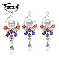 FENASY 925 Sterling Silver Natural Pearl Ruby Jewelry Sets For Women Vintage Accessories Long Earrings Wedding