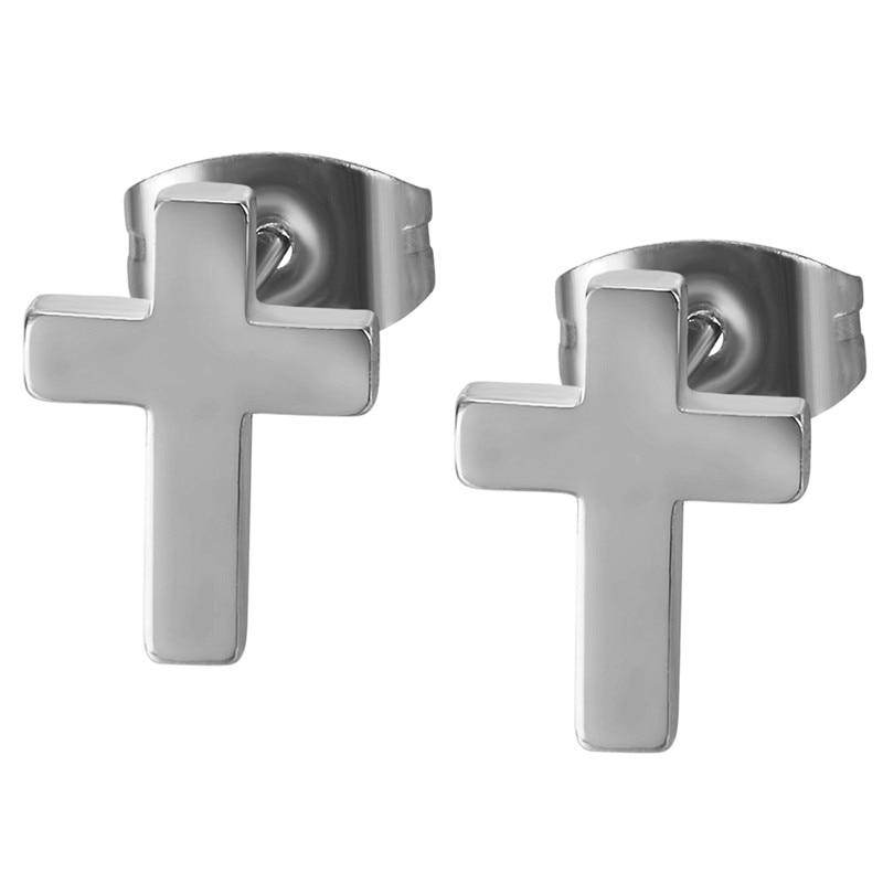 Boniskiss New Punk Fashion Unisex Women Male Prayer Earrings Gold Color Original 316 Stainless Steel Cross Men Stud Earrings