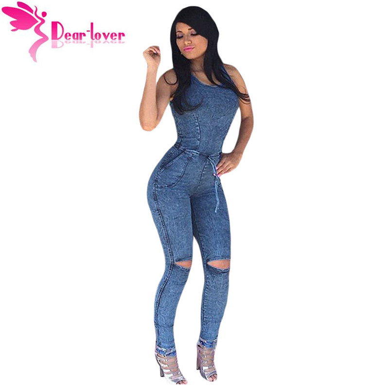dear lover jumpsuits long pants denim sexy slim bodycon knee slit jeans jumpsuit women romper. Black Bedroom Furniture Sets. Home Design Ideas