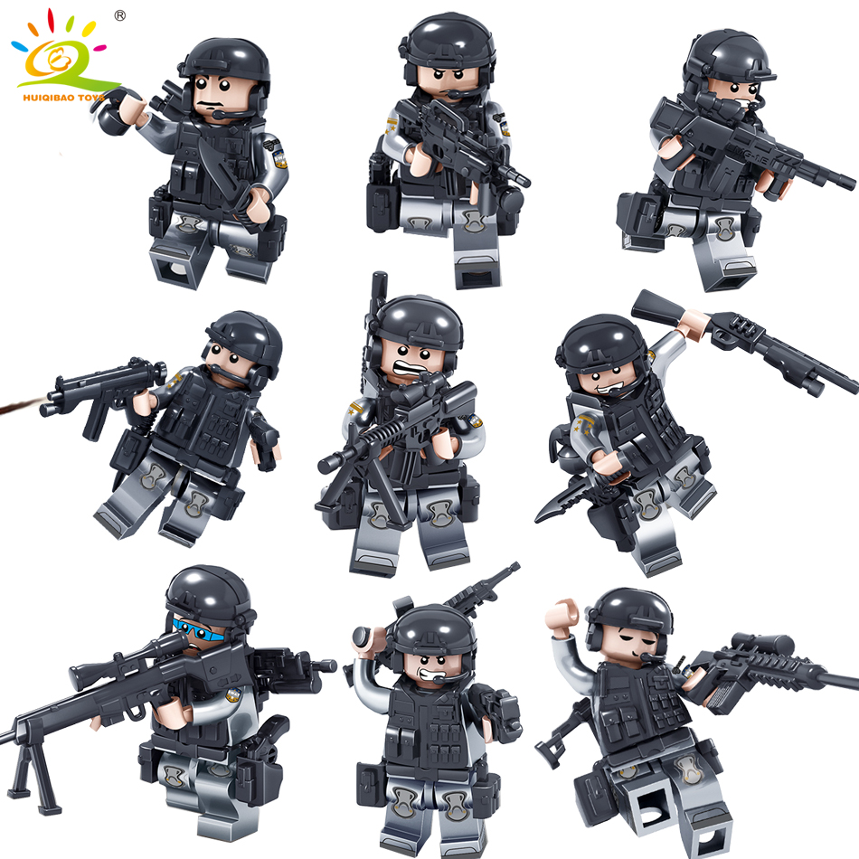 9pcs Military Swat soldier with Weapons Building Blocks compatible legoed army guns weapon enlighten toys for children friends enlighten 1406 8 in 1 combat zones military army cars aircraft carrier weapon building blocks toys for children