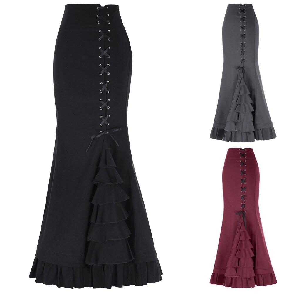Women Victorian Steampunk Ruffled Fishtail Mermaid Skirt Gothic Vintage Skirt High Waist Retro Maxi Skirt