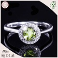 Popular Luxurious Round Green Natural Olivine Design S925 Sterling Silver  Proposal Ring