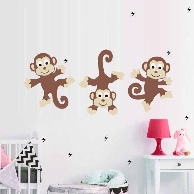 cartoon cute bunch monkeys vinyl color wall art stickers for nursery