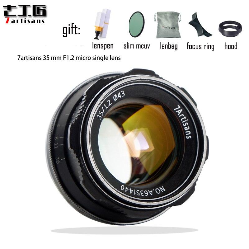 Objectif 7 artisans 35mm F1.2 Prime pour Sony e-mount pour Canon EOS-M pour Fuji XF APS-C Micro caméras simples objectif fixe à mise au point manuelle