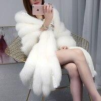 Супер Роскошный Лисий мех пашмины женский натуральный мех шаль с кружевом Роскошный белый натуральный мех длинные обертывания rf0255
