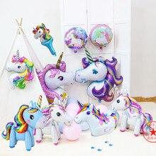 unicorn toys horse balloon child kids party supplies birthday decorations foil giant