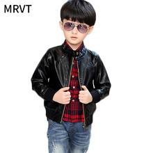 The new boys casual jacket long sleeve high quality leather jacket baby boy spring outwear boy leather coat free shipping