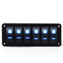 12V Rocker Switch Panel for Caravan Marine Boat RV Universal Car Lighter Socket 6 Gang Blue LED 24V