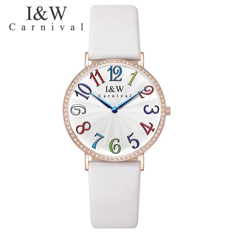 Carnival Luxury Brand Watch Women Swiss Import Quartz Movement Women's Watches Waterproof Genuine Leather reloj hombre C3002G-4 : 91lifestyle