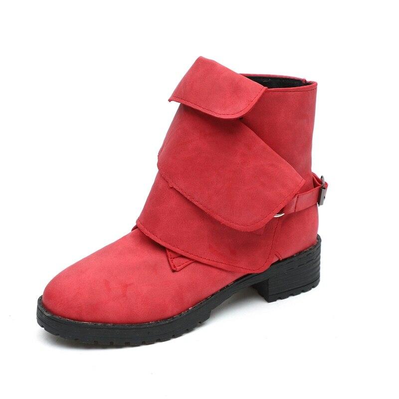 2018 autunno e inverno nuovo delle donne della pelle scamosciata scarpe piane di grandi dimensioni con il selvaggio di modo delle donne a testa tonda stivali rosso 1026