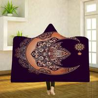 Rectangle Printed Sherpa Fleece Material Wearable Travel Home Hotel Use Winter Warm Keeping Hooded Blanket With Mandala Design