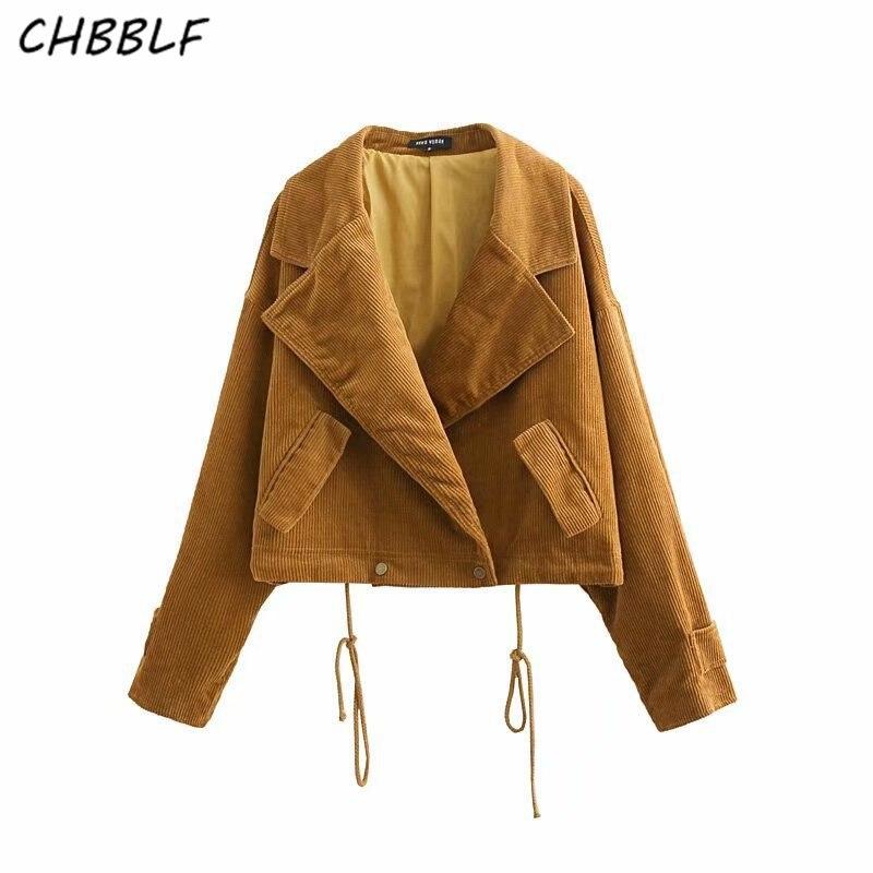 CHBBLF femmes jeunesse personnalité velours côtelé revers poche manteau automne dames manteaux décontractés outwear hauts NHN1259