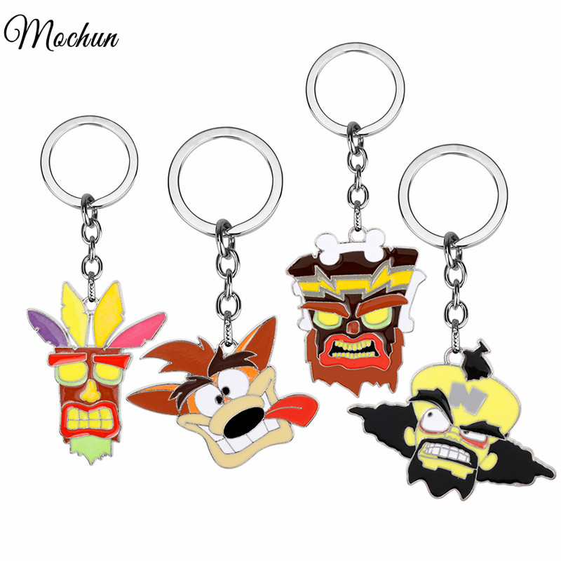все цены на MQCHUN Crash Bandicoot Game Key Chains for Men Women Cosplay Dog Keychain Male Anime Jewelry Key Holders Keyring Souvenir