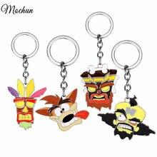 Mqchun crash bandicoot jogo chaveiros para homens mulheres cosplay cão chaveiro masculino anime jóias porta-chaves lembrança