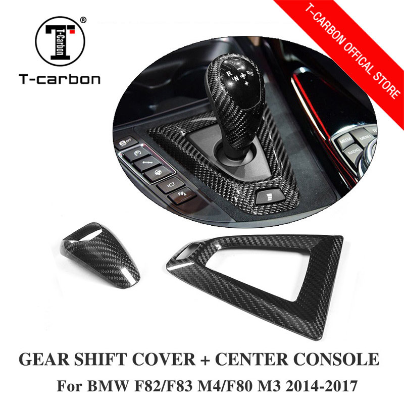 Car styling Carbon fiber Gear Shift Konb Cover and Base Cover For BMW M2 F87 M3 F80 M4 F82 F83 Gear Surround Cover interior trim car carbon fiber color abs interior mouldings inner gear shift covers panel trim decal for honda civic 2006 2011 mt car styling