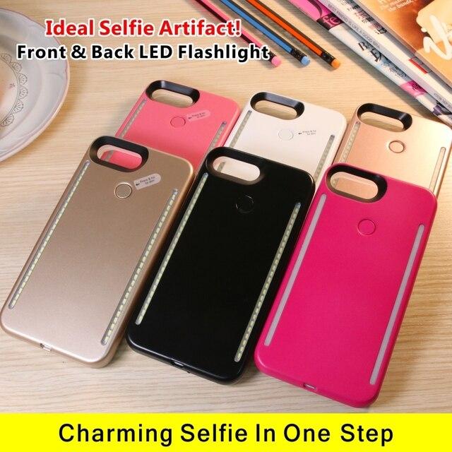 LED Lumière Selfie Téléphone Cas Lumière Flash Lumineux Téléphone Couverture Arrière Cas Pour iPhone 5S 6 s 6 s Plus 7 Plus 8 Plus X Funda Coque 3