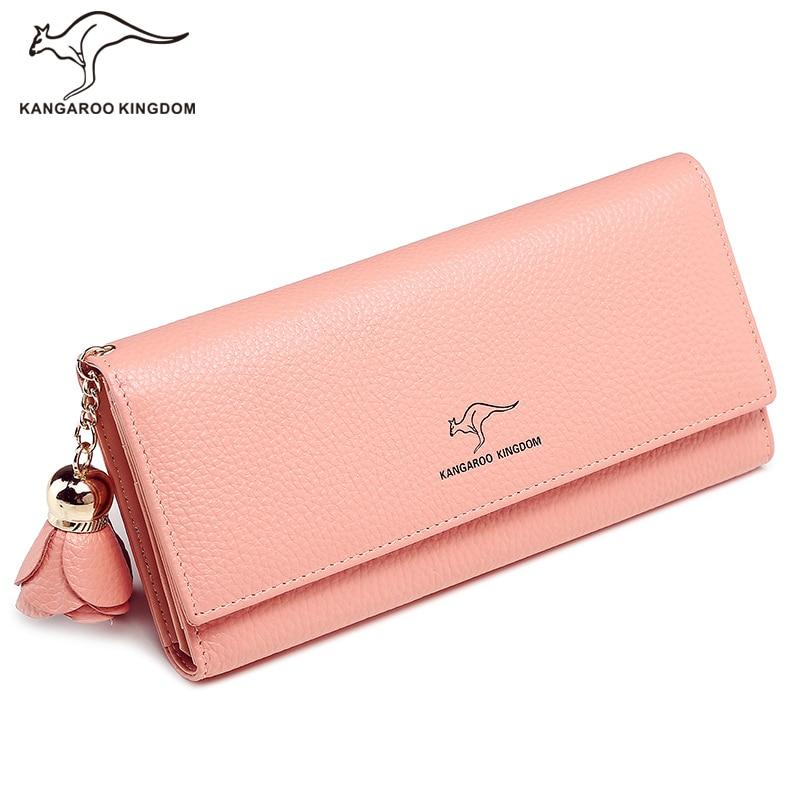 KANGAROO KINGDOM luxury genuine leather women wallets long trifold purse lady clutch tassel wallet одежда из кожи china kangaroo long 10010