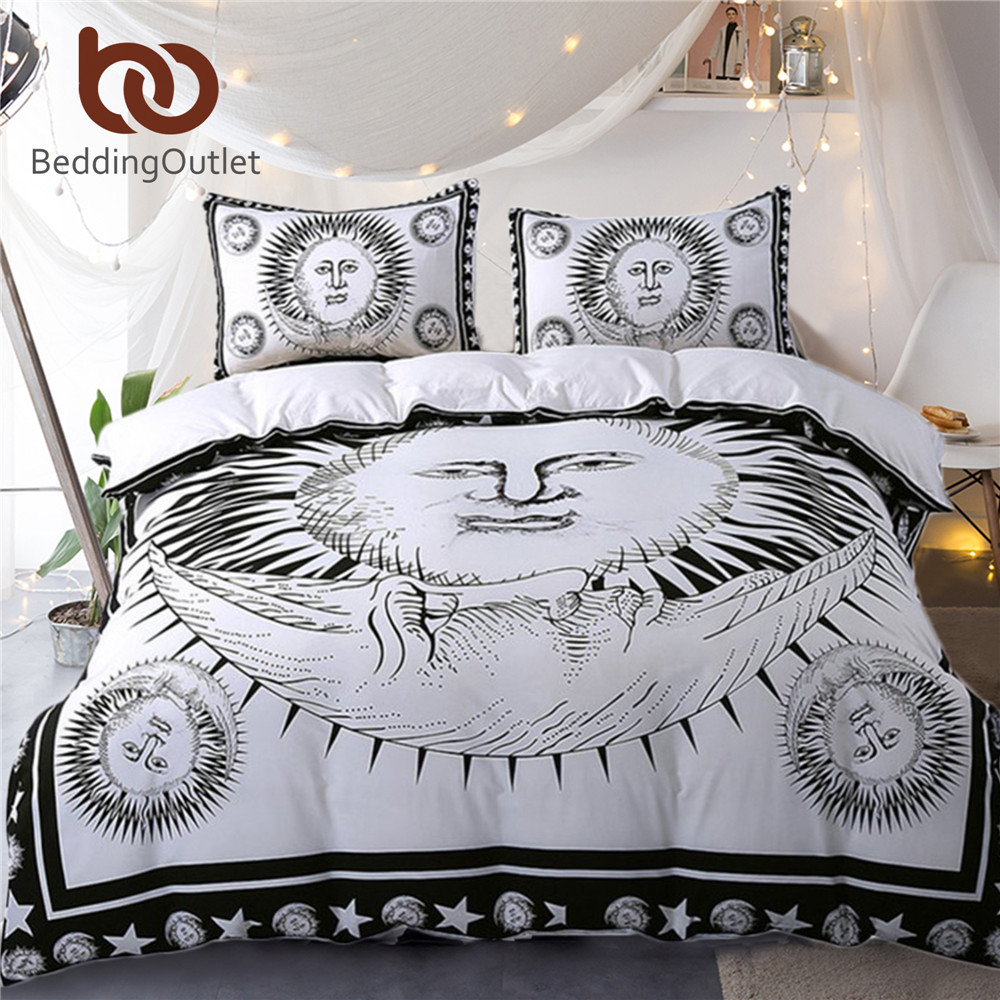 BeddingOutlet Sun God Bedding Set Moon Black and White Bed ...