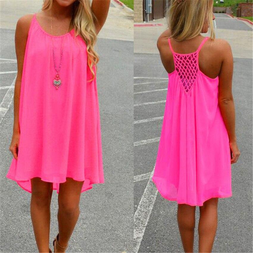 Color 14 mujeres playa vestido fluorescencia mujer vestido de verano vestido de gasa Condole cinturón vestidos sexy para mujer de la ropa más ropa de tamaño