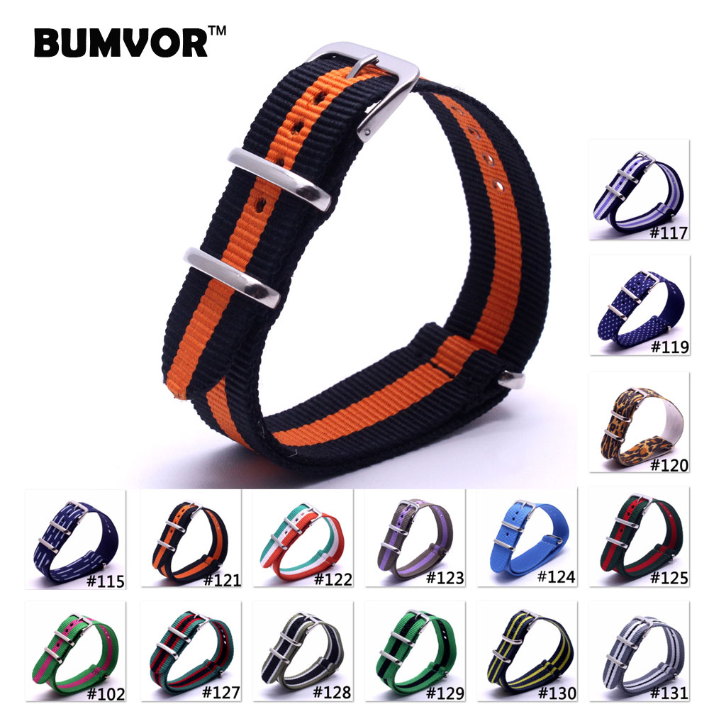 Code 102-131,2016 Nato Nylon Strap 20mm WatchBand Bracelet  Zulu Strap 20Mm Wristwatch Band Buckle Fabric strap on for hours