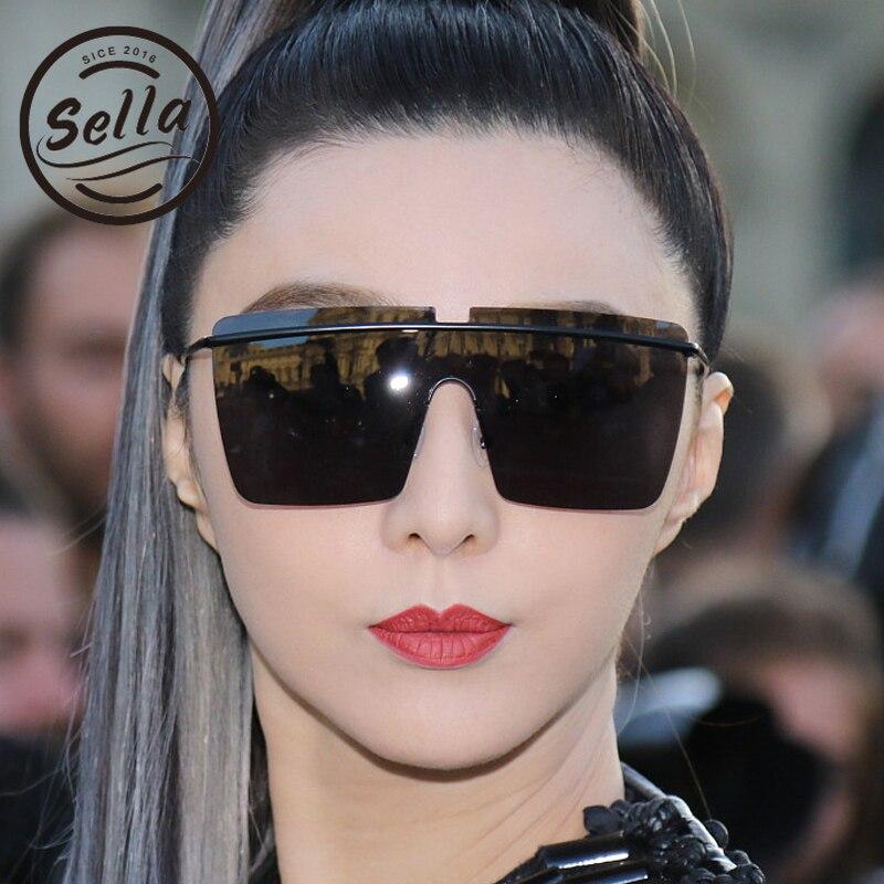 Sella 2018 New Fashion Women Men Oversized Square Sunglasses Brand Designer Mirror Lens Coating Conjoined Rimless Sun Glasses