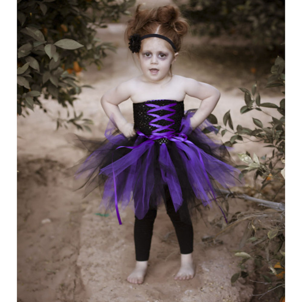 perfecto para halloween girl dress negro y prpura zombie inspirado vestuario tutu dress for kids de