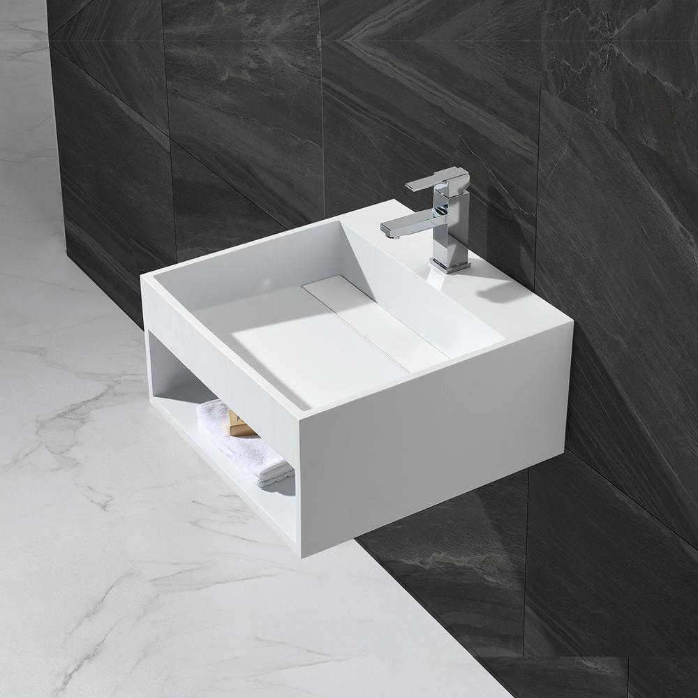 KKR solid surface matt white square wall hung wash basin bathroom sink KKR 1361