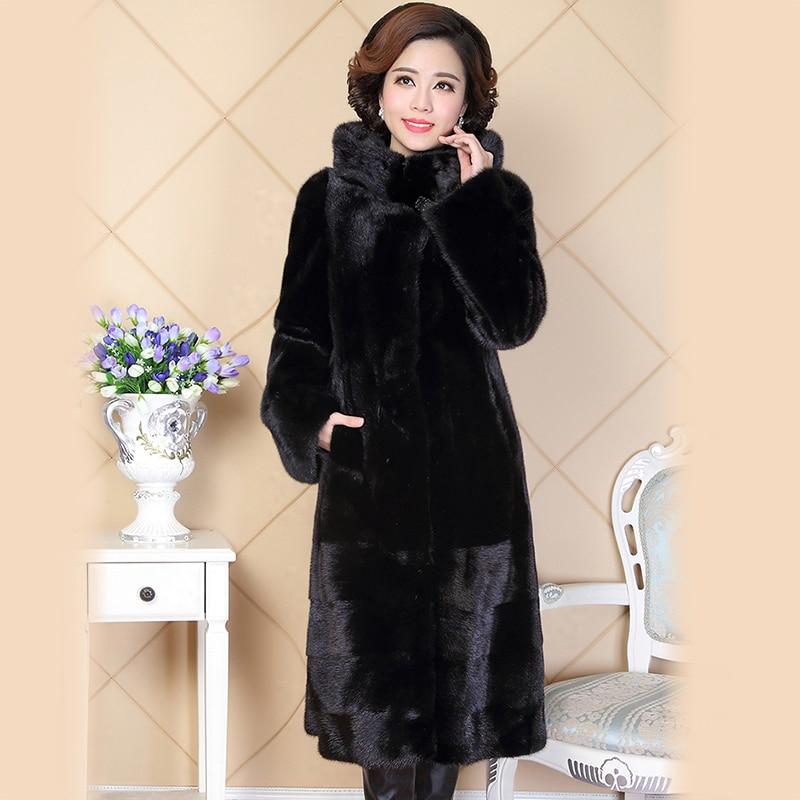Нерадзурри зима реального норки пальто с мехом для женщин Китай натуральный мех slim черный натуральная с капюшоном русской норки пальто Бол