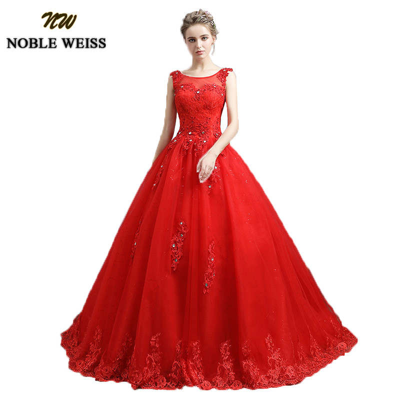 Red Ball Gown Wedding Dresses: NOBLE WEISS Elegant Red Ball Gown Wedding Dresses 2019