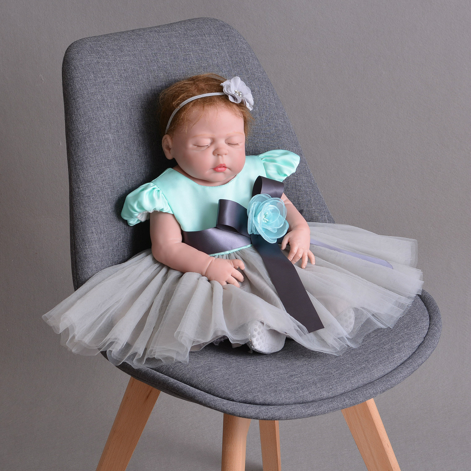 Blue Gray Baby Dress 1 2 Year Old Birthday Formal Weddings Flower Baby Girl Clothes 0-24 Month Baby Toddler Vestido RBF184014