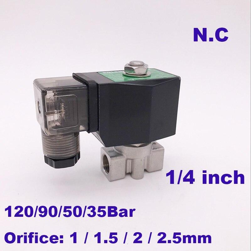 Ventil Wasser Hochdruck Magnetventil 1/4 bsp 220 V 12 V öffnung 1,5/2/2,5mm Nc Ss304 Ventil Sanitär Gogo 90bar/50bar/35bar 2 Weg