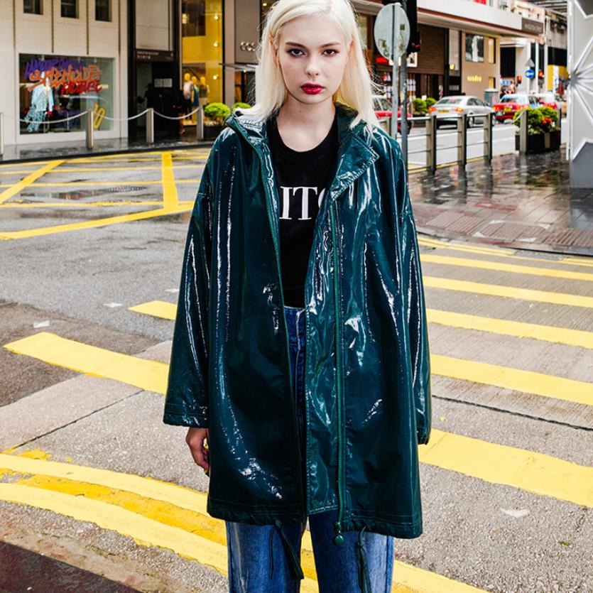 2018 autumn new fashion brand green Leather long trench coats loose casual style female PU coats tops gx1134 dropship